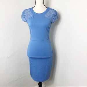Gianni Bini Blue Floral Lace Sleeve Sheath Dress
